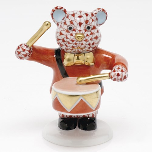 Herend Little Drummer Bear, Rust