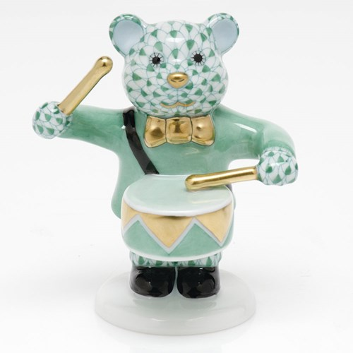 Herend Little Drummer Bear, Green