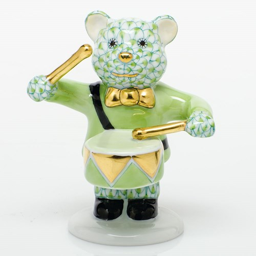 Herend Little Drummer Bear, Key Lime