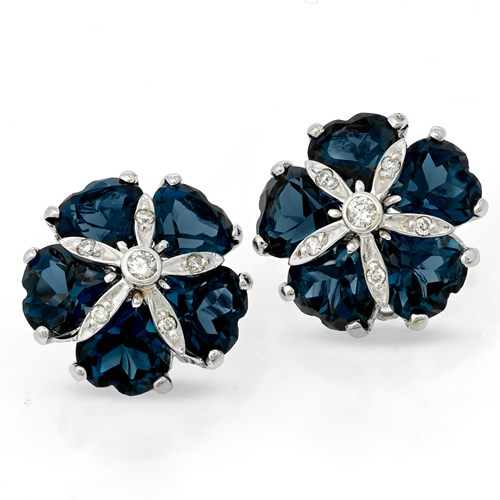 London Blue Topaz Sand Dollar Earrings, Clips