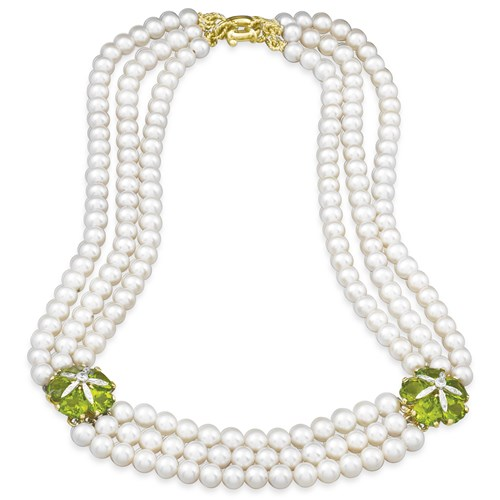 18k Yellow Gold Peridot & Pearl Necklace