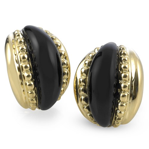 Five Band Onyx and Gold Earrings