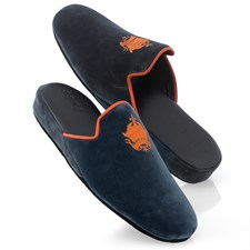 Men's Black Velvet Slippers with Orange Trim