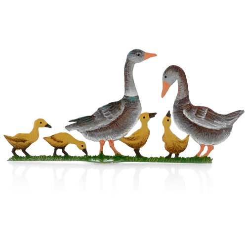 Pewter Brown Goose Family with 2 Geese & 4 Goslings