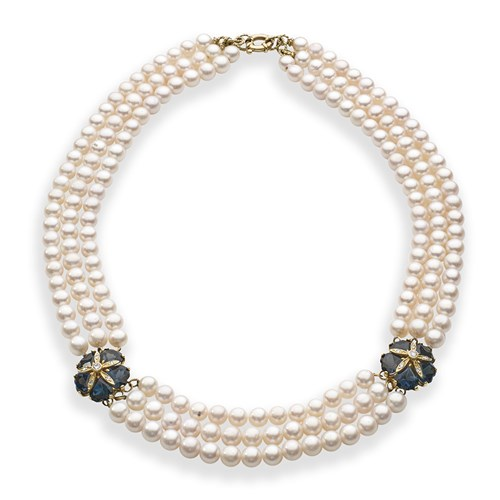 18k Yellow Gold London Blue Topaz & Pearl Necklace