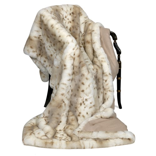 Faux Fur Lynx Australian Geelong Wool Throw