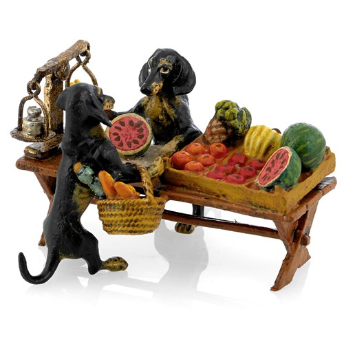 Austrian Bronze Dachshunds Selling Fruits Figurine