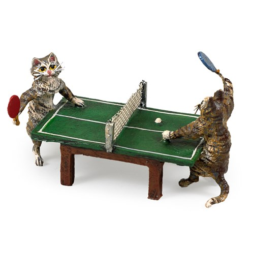 Austrian Bronze Cats Playing Table Tennis