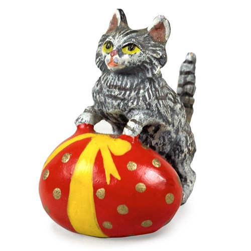 Austrian Bronze Cat with Easter Egg