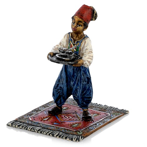 Austrian Bronze Arabian Boy Standing on Carpet
