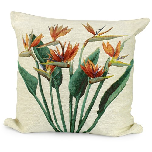 Birds of Paradise Bunch Pillow, White