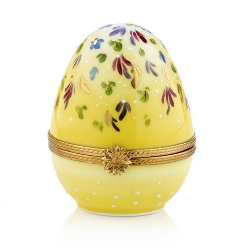 Yellow Egg with Flowers Limoges Box