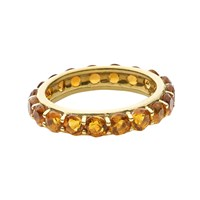 18K Gold Studded Stackable Ring, Citrine