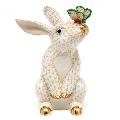 Herend Bunny with Butterfly Figurine, Butterscotch
