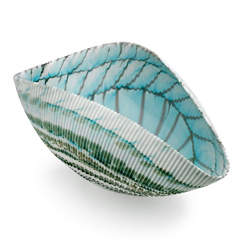 Large Murano Shell Bowl, Ivory Turquoise