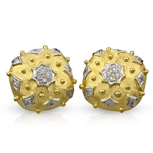 18k Gold & Diamond Square Textured Earrings, Clips