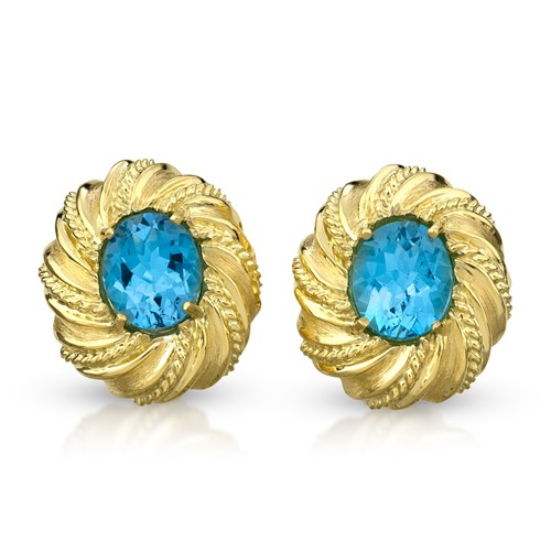 18k Gold Oval Swirl Twist Rope Blue Topaz Earrings, Clips