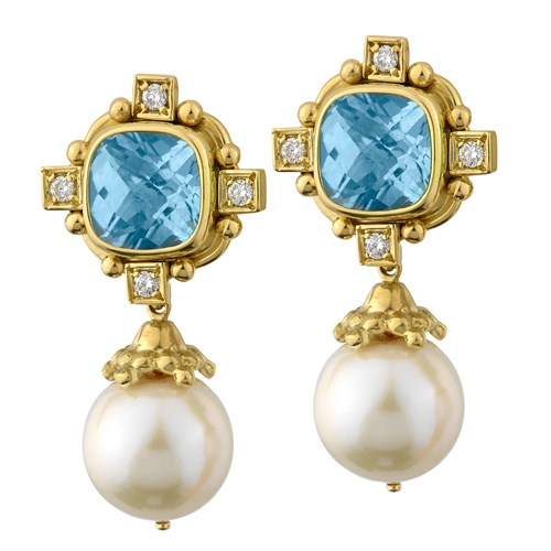 18k Gold Blue Topaz, Diamond & Pearl Drop Earrings, Clips
