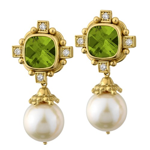 18k Gold Peridot Cross & Pearl Drop Earrings, Clips