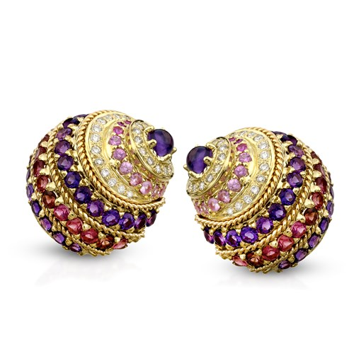 18k Gold Banded Nautilus Shell Earrings with Purple Stones, Clips