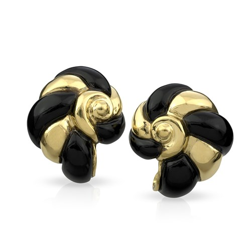 18k Yellow Gold & Onyx Nautilus Shell Earrings, Clips