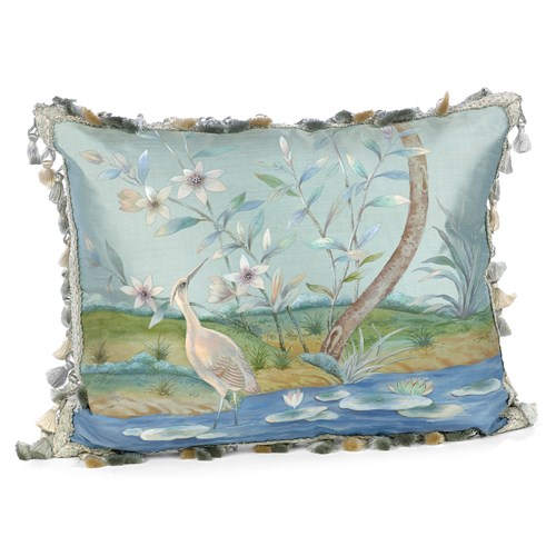 Heron in Lotus Lake Silk Pillow
