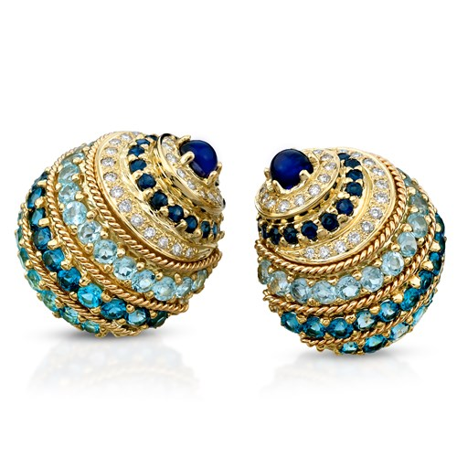 18k Gold Banded Nautilus Shell Earrings with Blue Stones, Clips