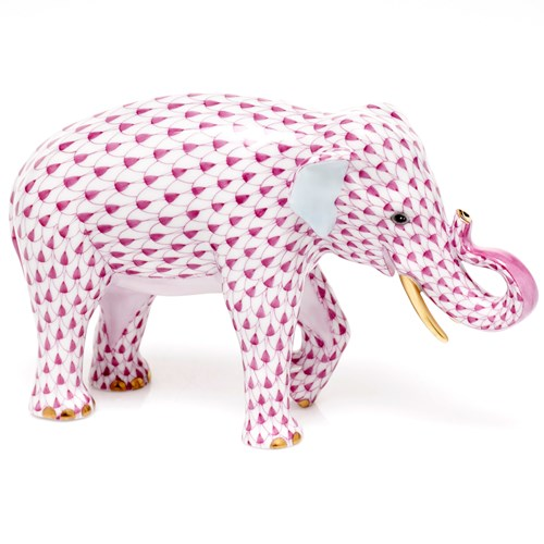 Herend Endangered Species Asian Elephant, Raspberry