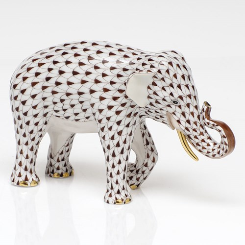 Herend Endangered Species Asian Elephant, Chocolate