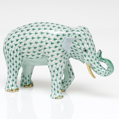 Herend Endangered Species Asian Elephant, Green