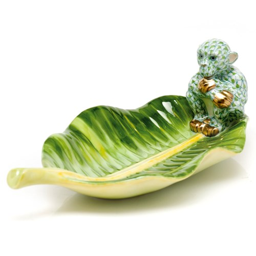 Herend Monkey on Banana Leaf Figurine, Key Lime
