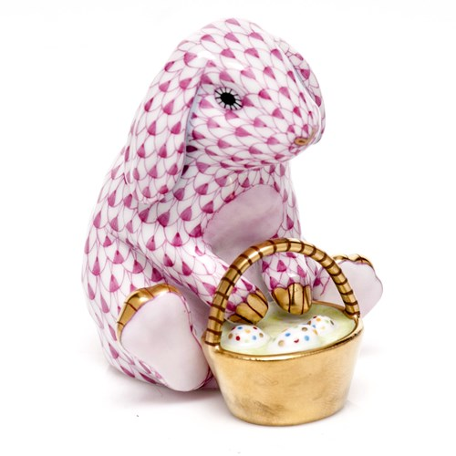 Herend Eggstravagant Rabbit Figurine, Raspberry