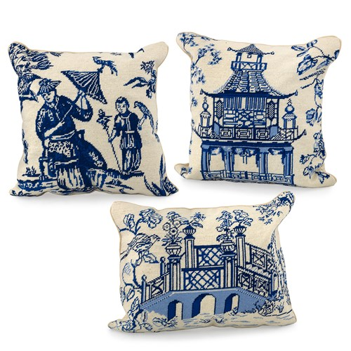 Blue Chinoiserie Needlepoint Pillows