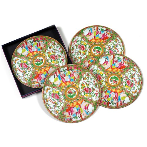 Chinese Famille Rose Round Tablemats, Set of 4