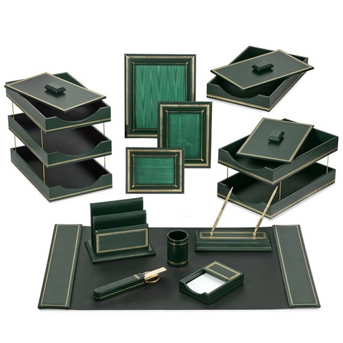 Double Line Leather Desk Set, Green