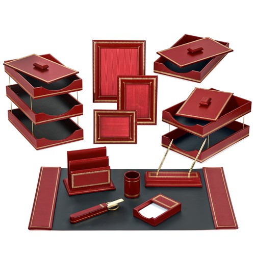 Double Line Leather Desk Set, Red