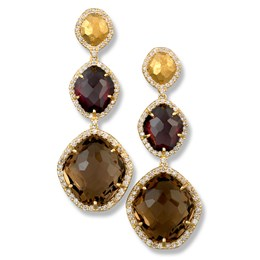 18K Yellow Gold Rhodolite & Smoky Quartz Earrings