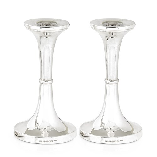 Sterling Silver Round Base Candlesticks, Pair
