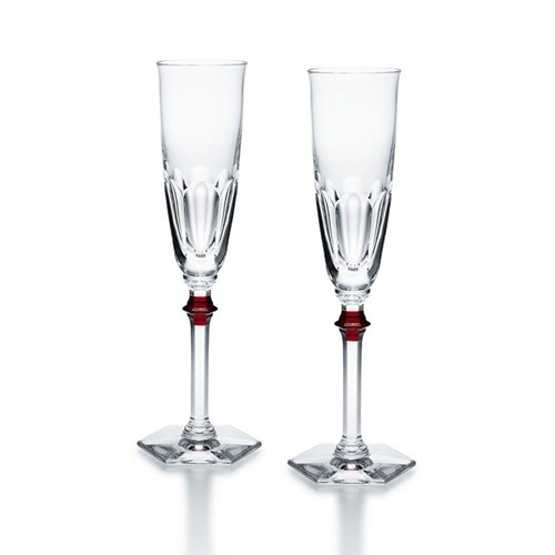Baccarat Harcourt Eve Flutes with Red Knobs