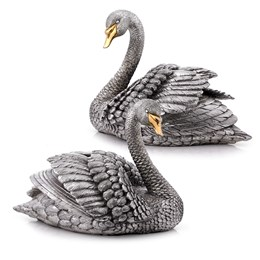 Pair of Sterling Silver Swans