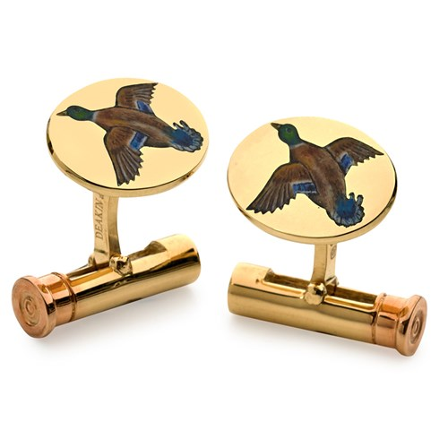 18k Gold Cufflinks with Mallards & Shotgun Shell Fittings