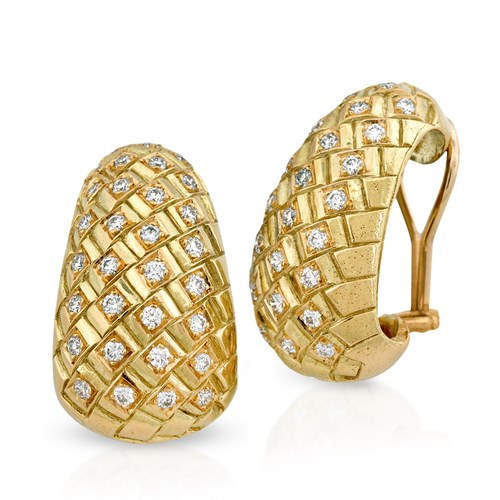 18k Gold & Diamond Interwoven, Clips