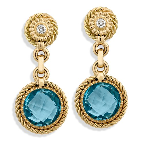 AM291 YG Drop Twist Bezel Blue Topaz Clips