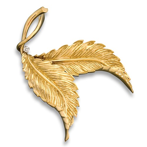 18k Gold Double Leaf Pin