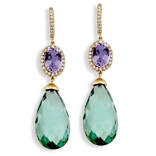 18k Yellow Gold Drop Earrings with Diamond and Kunzite, Clips