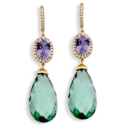 18k Gold Kunzite & Prasiolite Drop Earrings, Posts