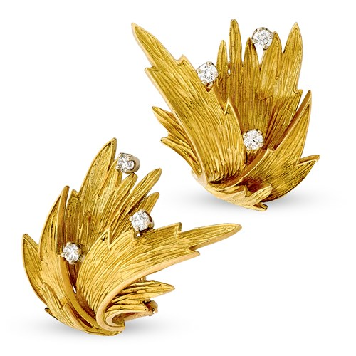 18k Flame Earrings with Diamonds, Clips