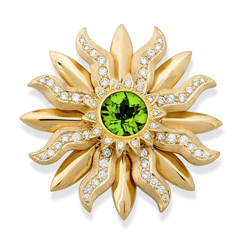 18k Gold Sunburst Pin