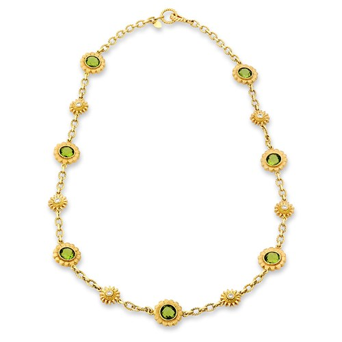 18k Gold Peridot Sunflower Necklace