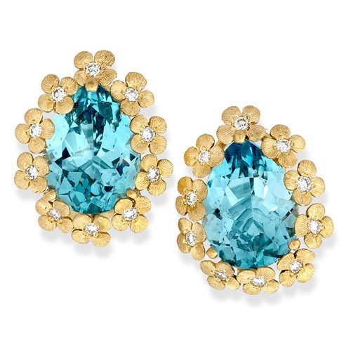 18k Gold Blue Topaz & Diamond Flower Earrings